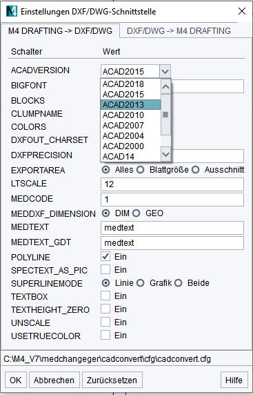 DXF DWG Einstellungen Export
