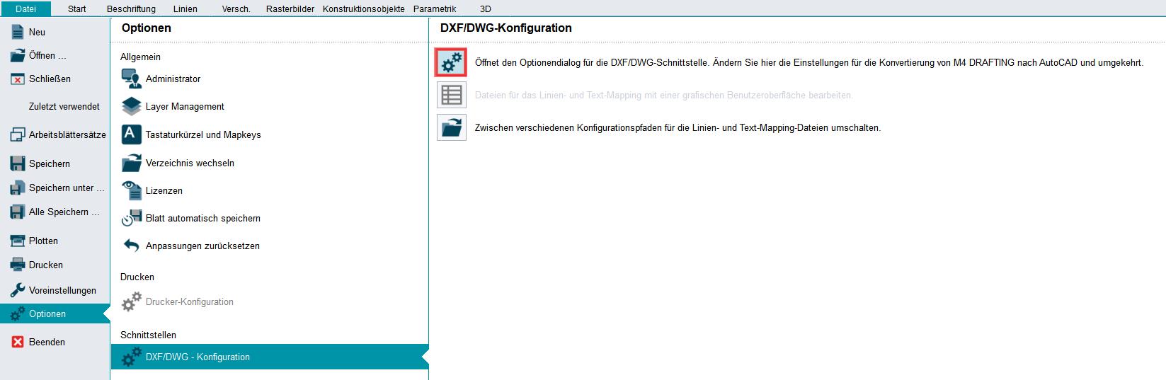 DXF DWG Einstellungen