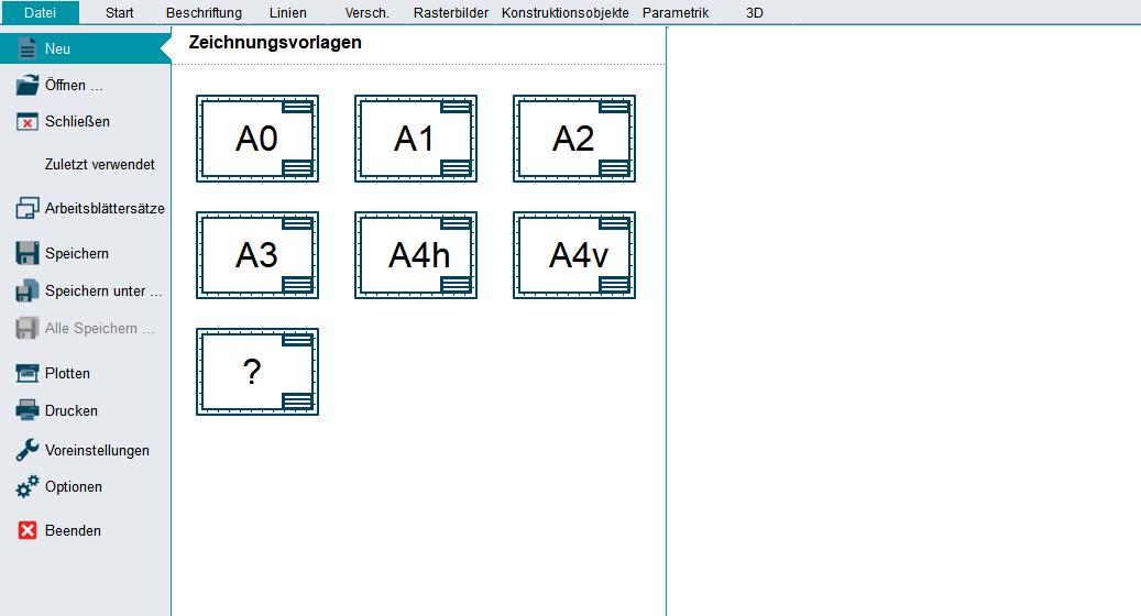 DXF DWG Neue Datei erstellen
