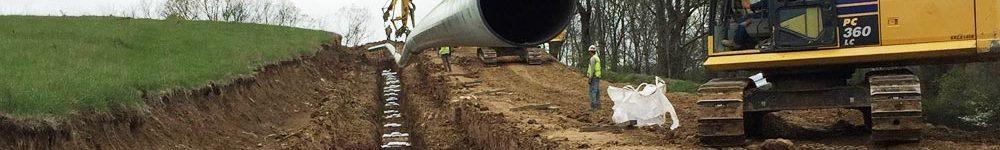 Panoramabild von einer im Bau befindlichen Pipeline