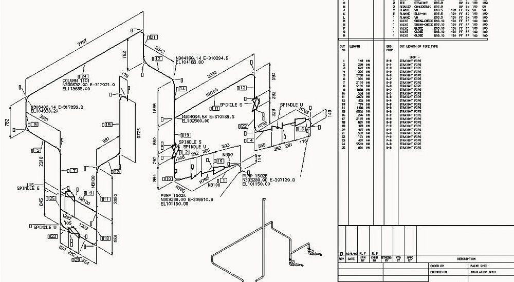 Rohrleitungsisometrie mit detaillierter Stückliste und 3D-Ansicht