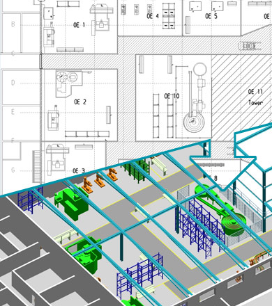 Von 2D nach 3D Fabrikplanung