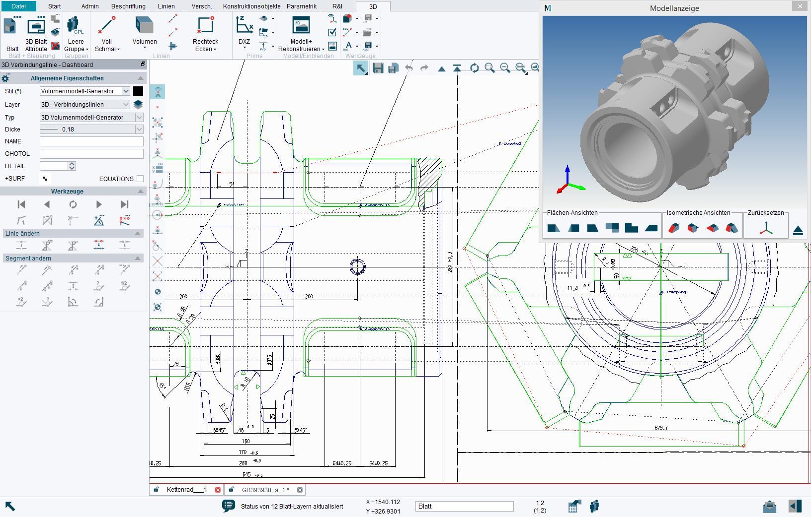 2D zu 3D CAD Modellierung