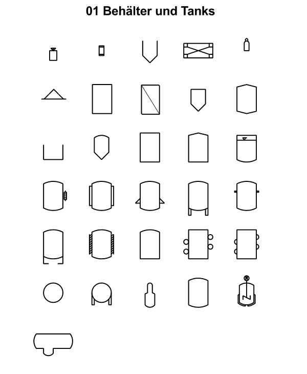 R&I und P&ID Symbole für Fliessbild - Behaelter und Tanks