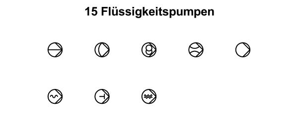 R&I und P&ID Symbole für Fließbild - Flüssigkeitspumpen