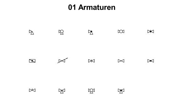 R&I und P&ID Symbole für Fließbild - Armaturen