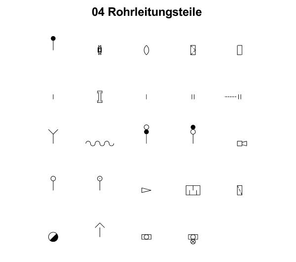 R&I und P&ID Symbole für Fließbild - Rohrleitungsteile