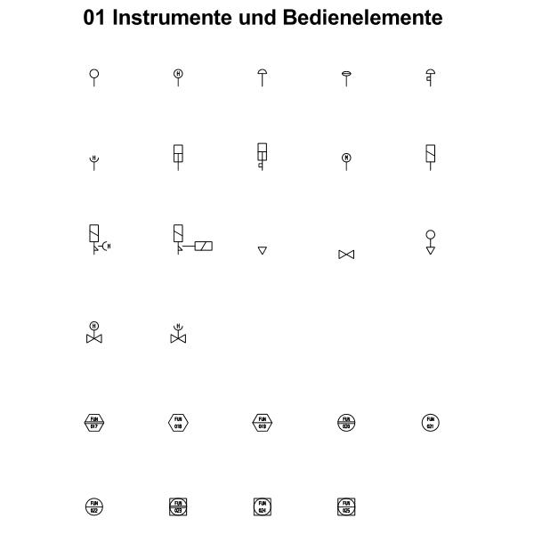 R&I und P&ID Symbole für Fließbild - Bedienelemente