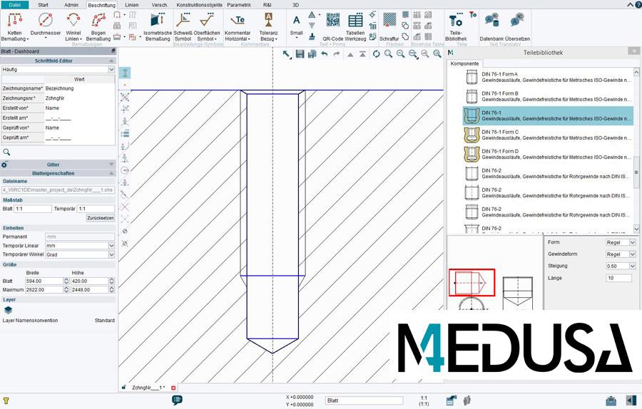 Umfangreiche CAD-Normteilbibliothek mit Symbolen MEDUSA4 MEDParts