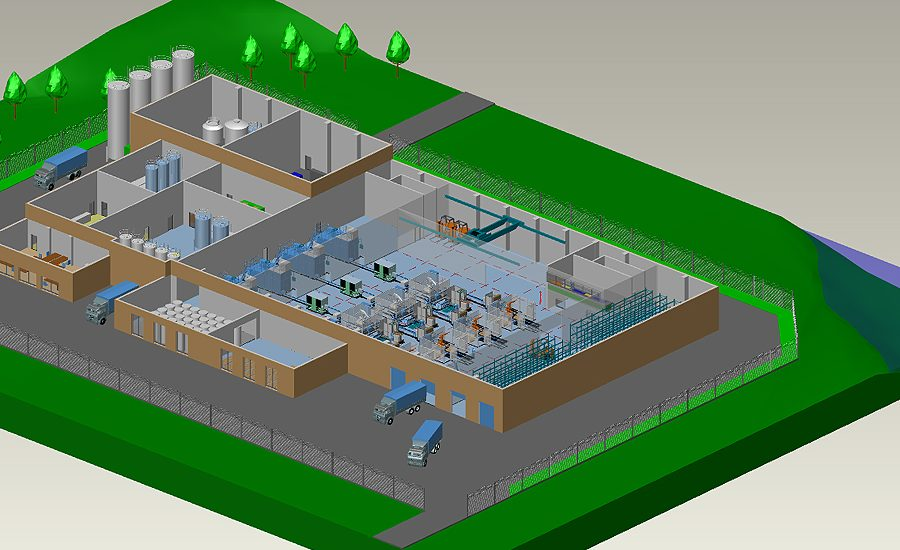 Layout kompletter Fabriken in einer 2D 3D Software