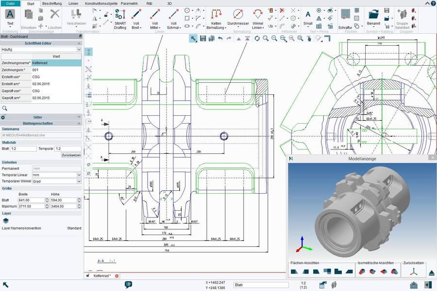 M4 DRAFTING besitzt einen vollen 2D CAD Funktionsumfang mit der Möglichkeit 3D-Modelle aus 2D-Zeichnungen abzuleiten.